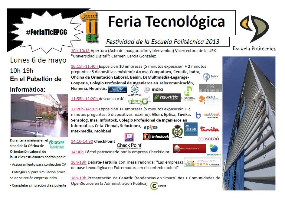 Feria Tecnológica en la semana de la Escuela Politécnica el lunes 6 mayo de 10h-19h #FeriaTicEPCC