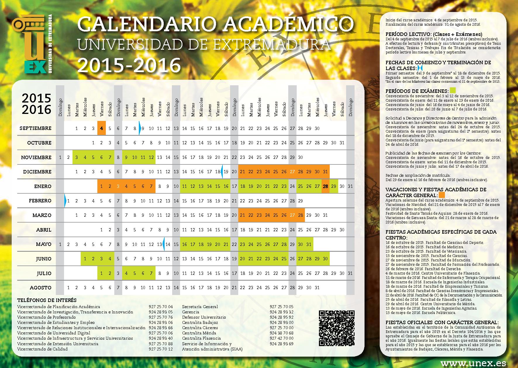 Calendario Uex.Calendario Academico Del Curso Portal De La Uex Bienvenido A La